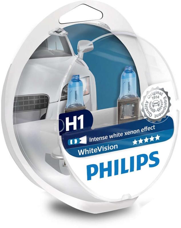 Philips White Vision H1 pære med Xenon effekt & +60% mere lys 2 stk + (2 stk. W5W) thumbnail