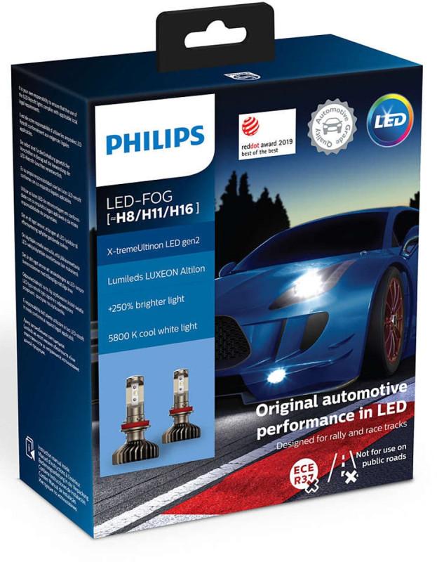 Philips X-treme Ultinon H8/H11/H16 LED +250% mere lys ( 2 stk. (( Tåge lys )) thumbnail