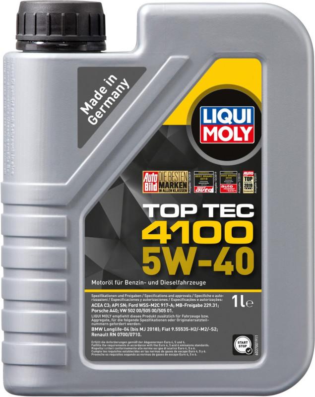 Top tec 4100 Liqui moly 5W40 Motorolie i 1 liters dunk thumbnail