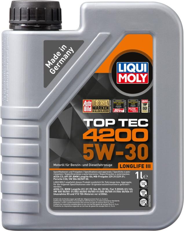 Top tec 4200 Liqui moly 5W30 Motorolie i 1 liters dunk thumbnail