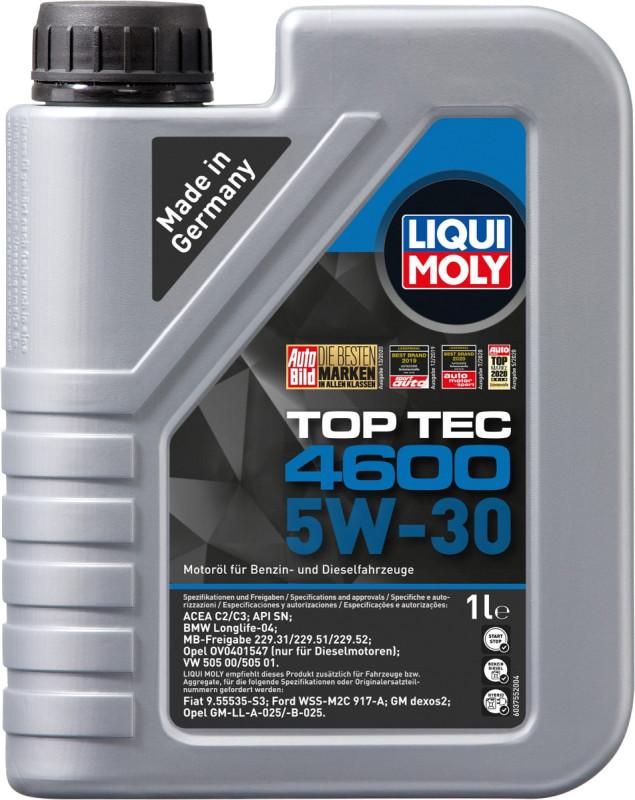 Top tec 4600 Liqui moly 5W30 Motorolie i 1 liters dunk thumbnail