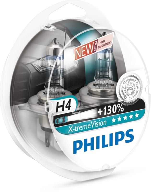 Philips H4 Xtreme Vision pærer +130% mere lys ( 2 stk) thumbnail
