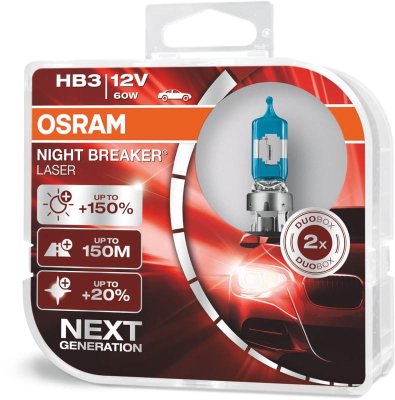 Osram Night Breaker Laser HB3 pærer +150% mere lys (2 stk) pakke thumbnail