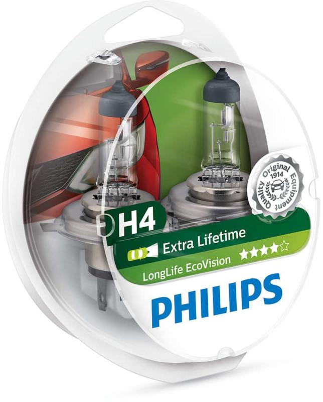 Philips H4 Longlife EcoVision pære med op til 4x længere levetid thumbnail